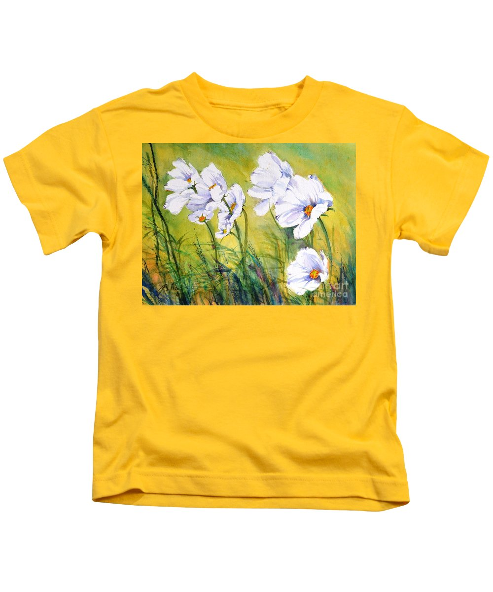 Florals Kids T-Shirt featuring the painting Blowing In The Wind by Betty M M Wong