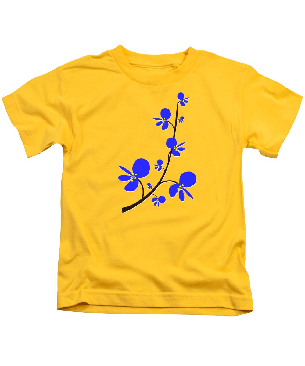 Nature Kids T-Shirt featuring the digital art Blue Flowers by Anastasiya Malakhova