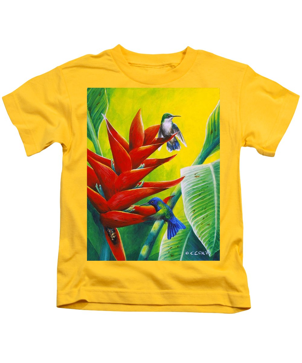 Chris Cox Kids T-Shirt featuring the painting Blue-headed Hummingbirds And Heliconia by Christopher Cox