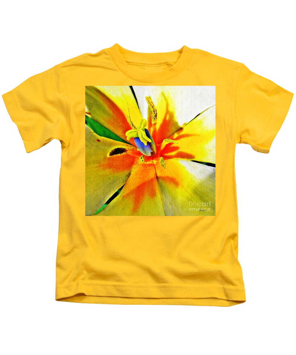 Tulip Kids T-Shirt featuring the photograph Blue Heart Of The Tulip by Sarah Loft
