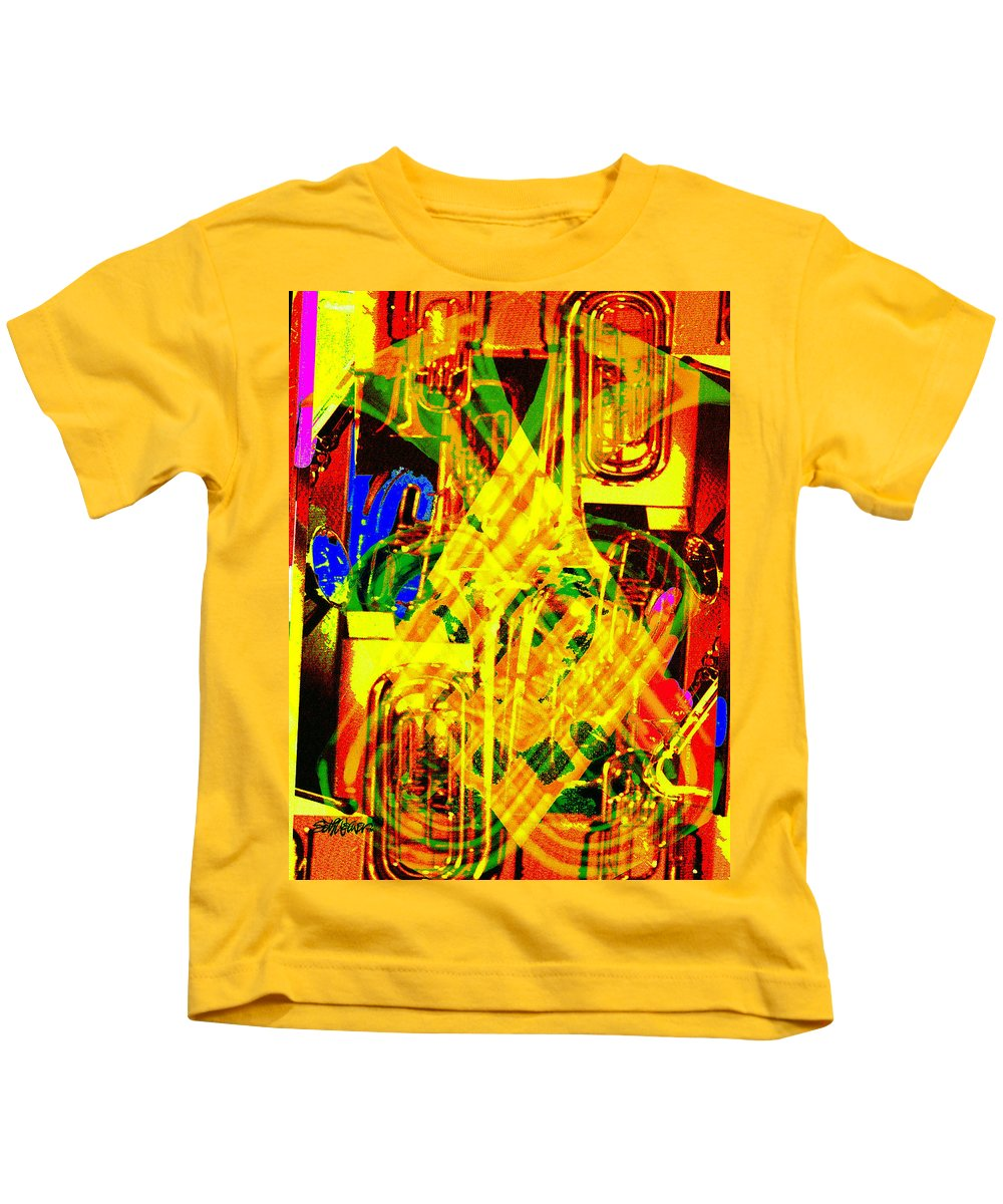 Festive Kids T-Shirt featuring the digital art Brass Attack by Seth Weaver