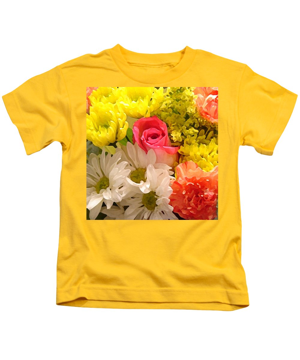 Floral Kids T-Shirt featuring the painting Bright Spring Flowers by Amy Vangsgard