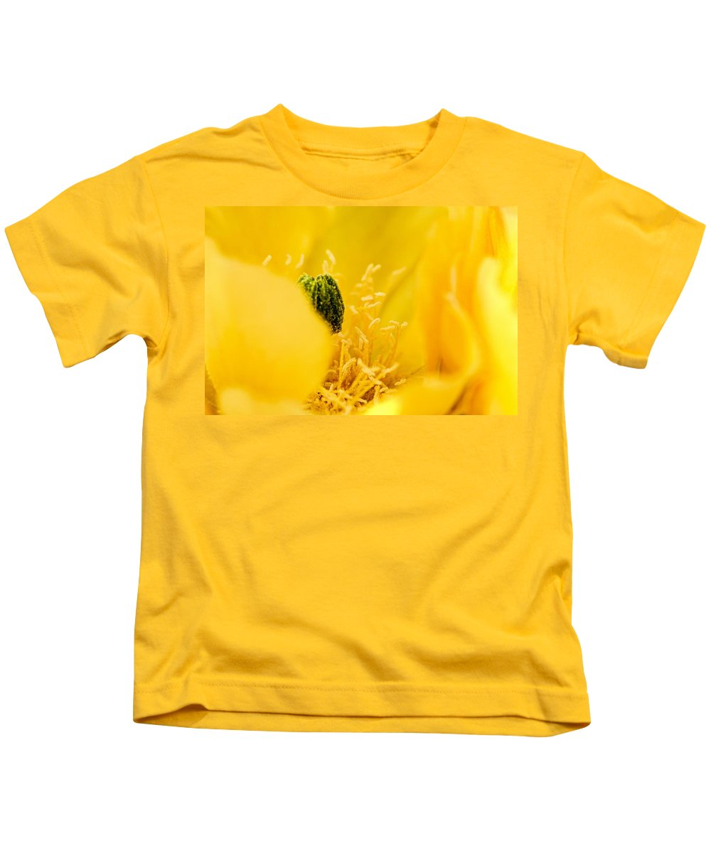 Prickly Pear Cactus Kids T-Shirt featuring the photograph Cactus Blossom Up Close And Personal by Larry Ricker