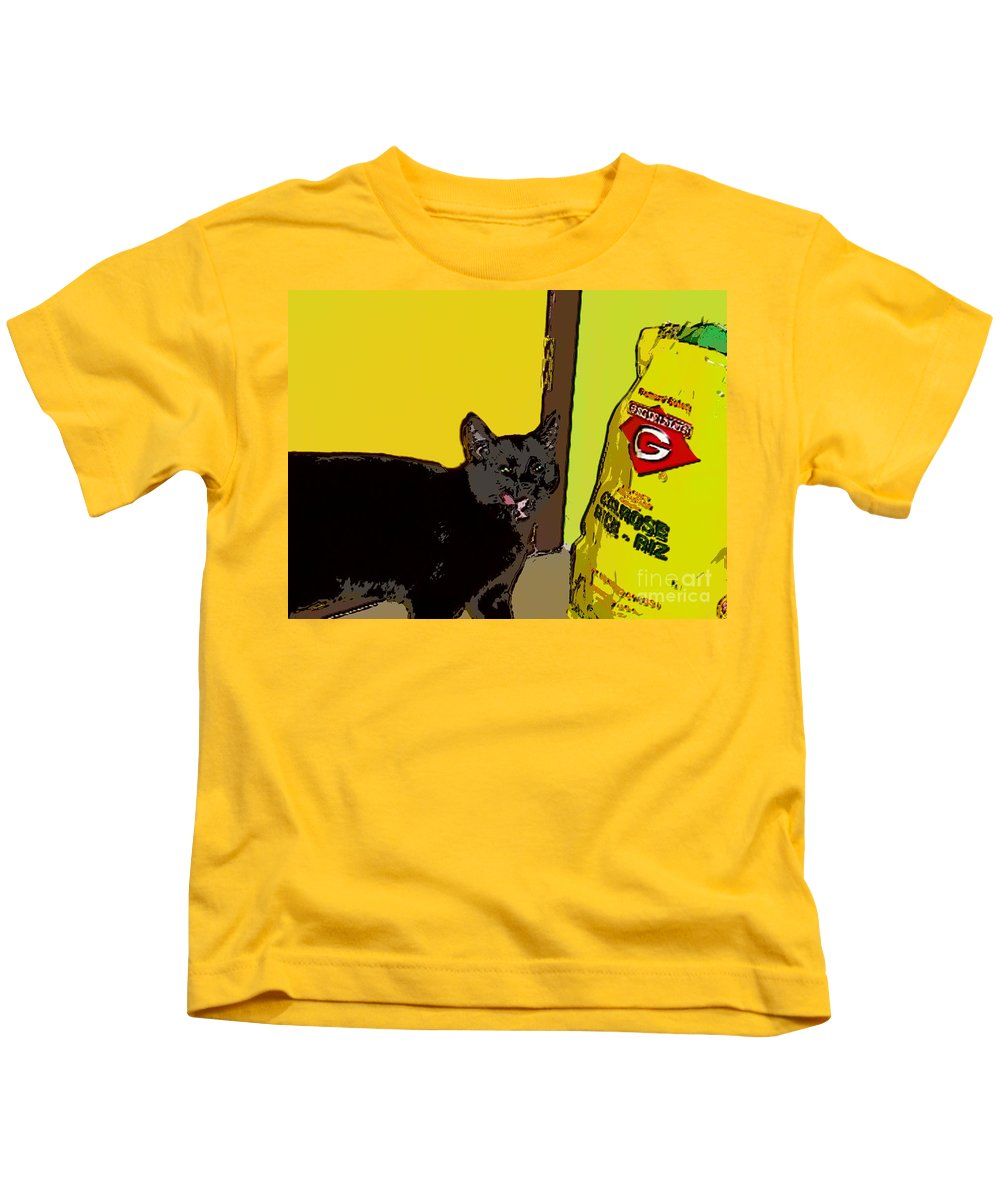 Photograph Cat Black Rice Yellow Critter Green Red Kids T-Shirt featuring the photograph Cat And Rice by Seon-Jeong Kim