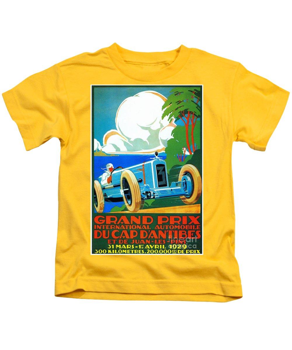 Grand Prix Kids T-Shirt featuring the digital art Classic Cars Motor Racing Grand Prix French Riviera 1929 by Heidi De Leeuw