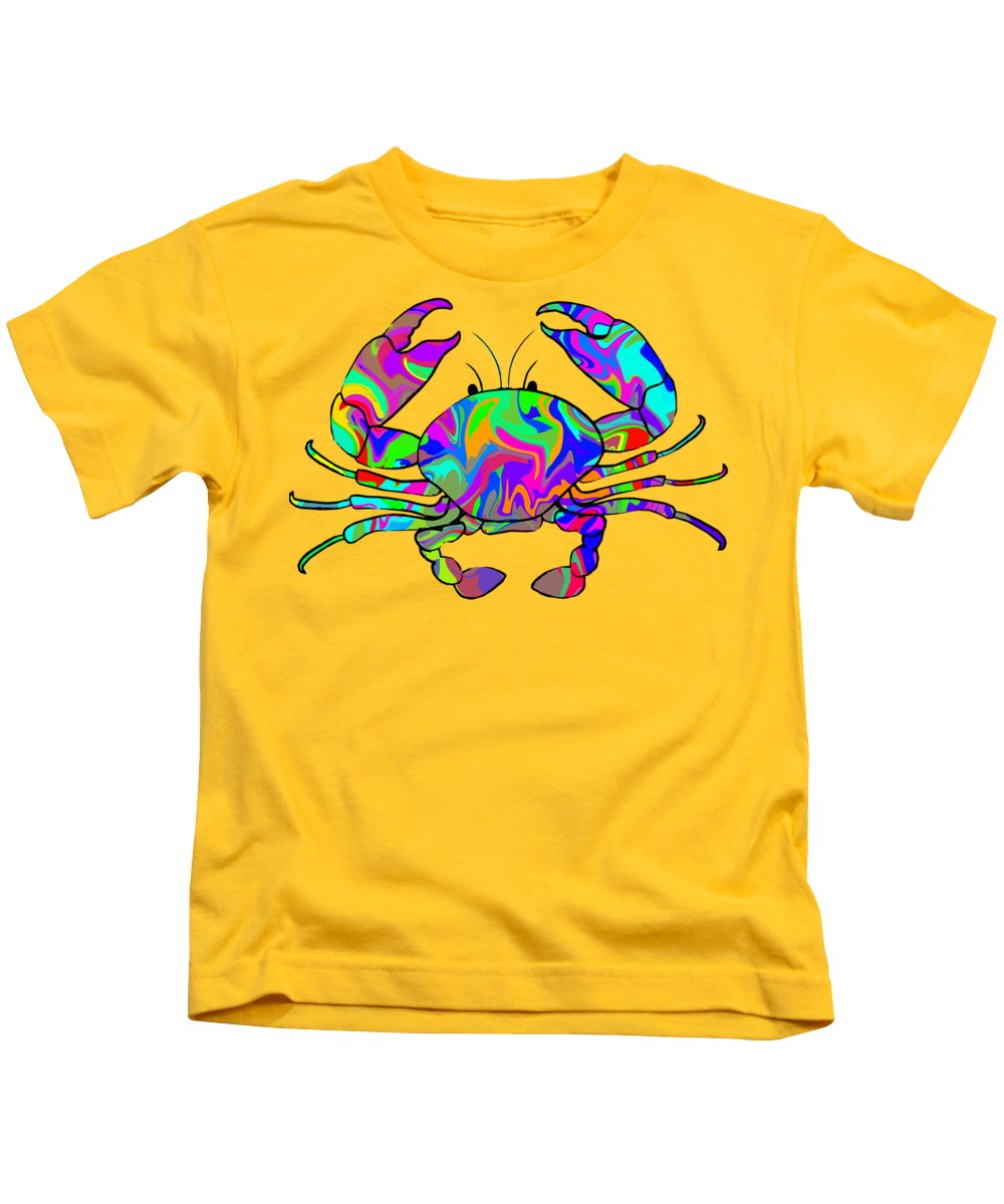 Colourful Kids T-Shirt featuring the digital art Colorful Crab by Chris Butler