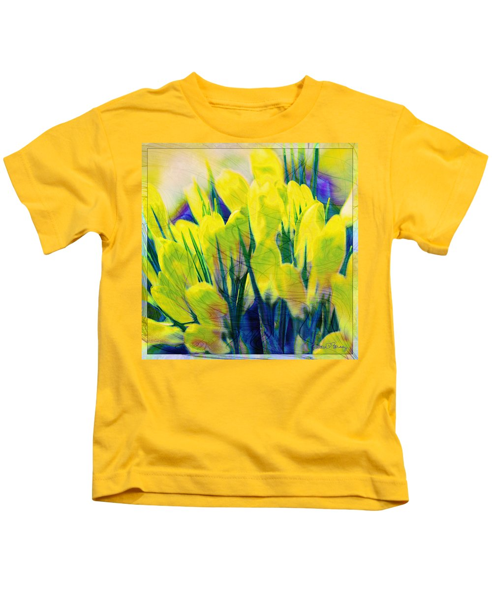Nature Kids T-Shirt featuring the digital art Crocus by Barbara Berney