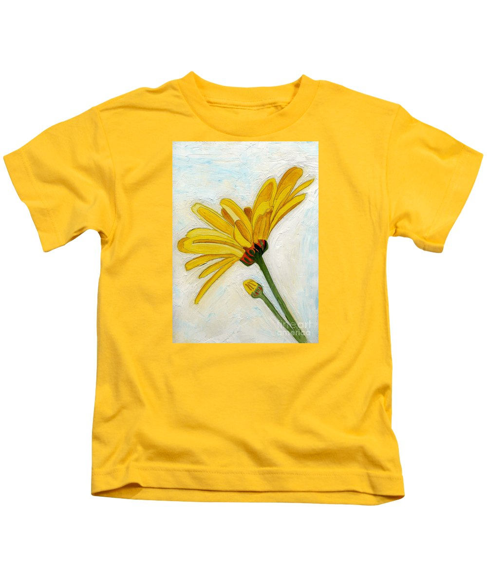 Yellow Daises Kids T-Shirt featuring the painting Daises From The Past by Anne Gitto