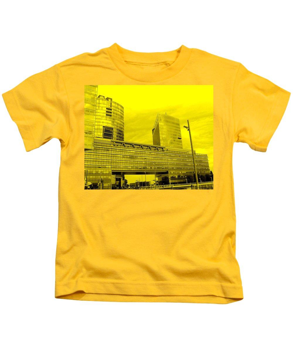 Vienna Kids T-Shirt featuring the photograph Daring Architecture by Ian MacDonald