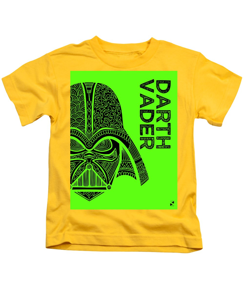 Darth Vader Kids T-Shirt featuring the mixed media Darth Vader - Star Wars Art - Green by Studio Grafiikka