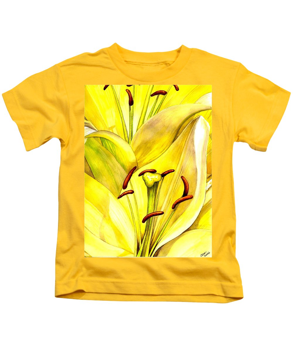 Lily Kids T-Shirt featuring the painting Daylily by Catherine G McElroy