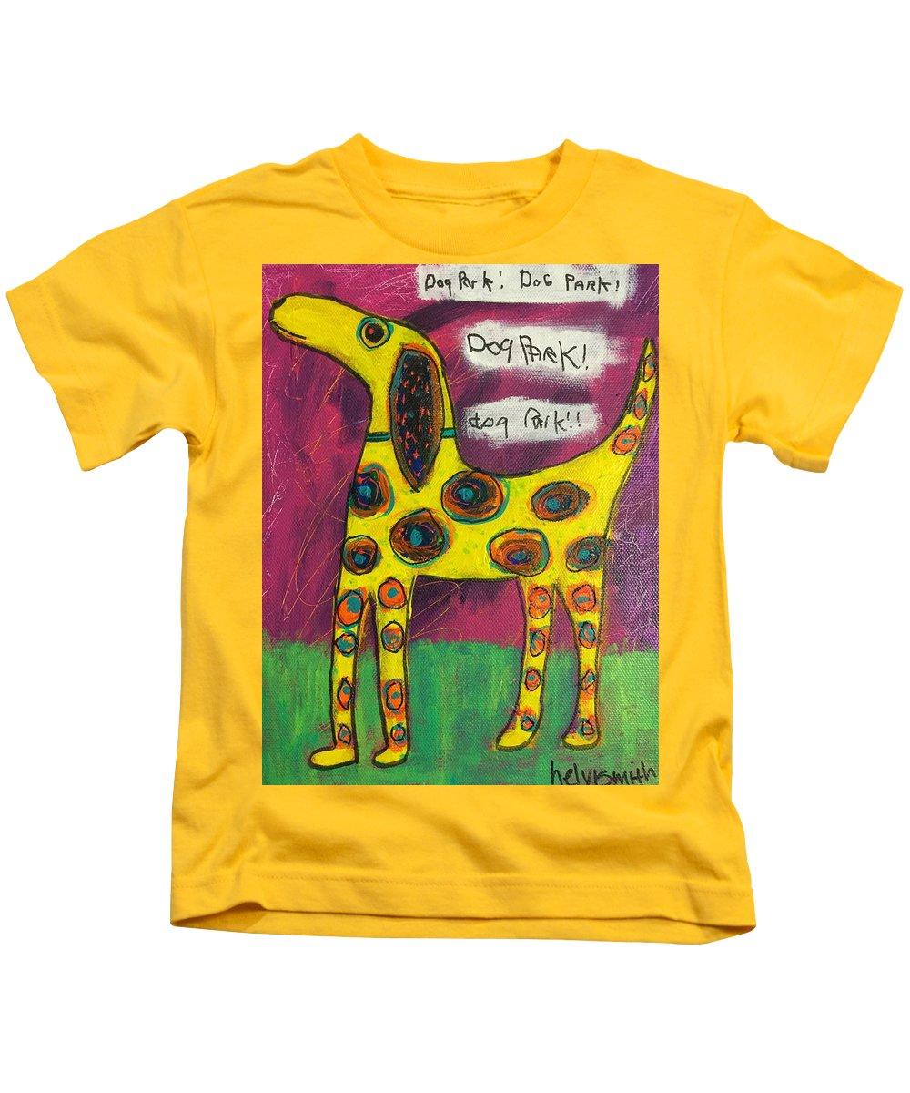 Dog Kids T-Shirt featuring the painting Dog Park Dog Park Dog Park by Helvi Smith