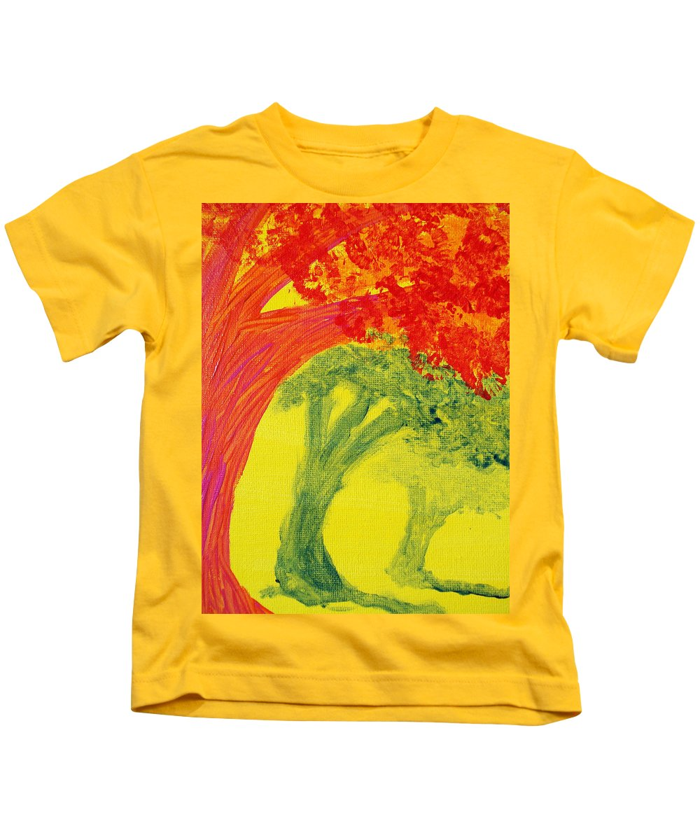 Orange Kids T-Shirt featuring the painting Dreaming And Shadows by Laurette Escobar