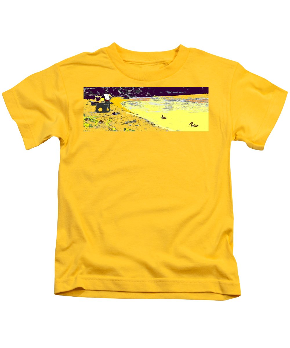 St Kitts Kids T-Shirt featuring the photograph Feeding The Pelicans by Ian MacDonald