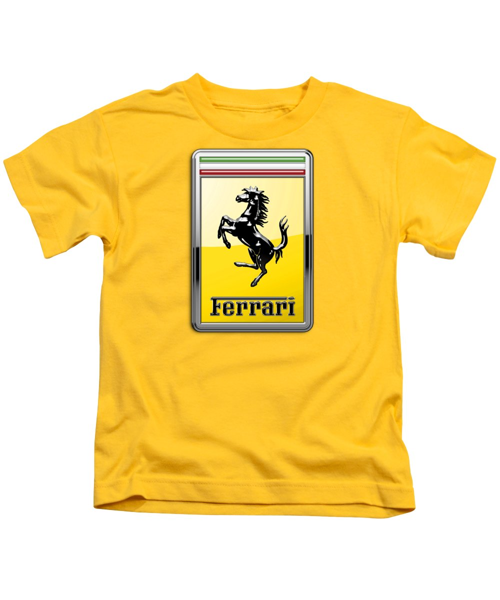 �auto Badges� Collection By Serge Averbukh Kids T-Shirt featuring the photograph Ferrari 3D Badge- Hood Ornament on Yellow by Serge Averbukh