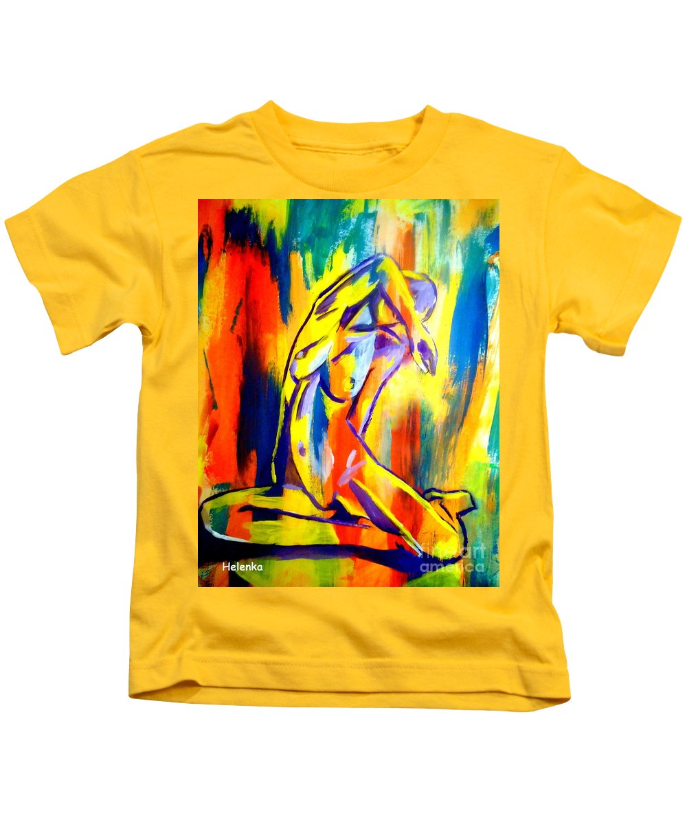 Affordable Original Art Kids T-Shirt featuring the painting Fire And Gold by Helena Wierzbicki