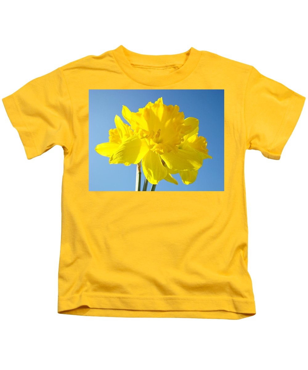 Spring Kids T-Shirt featuring the photograph Floral Art Bright Yellow Daffodil Flowers Baslee Troutman by Baslee Troutman
