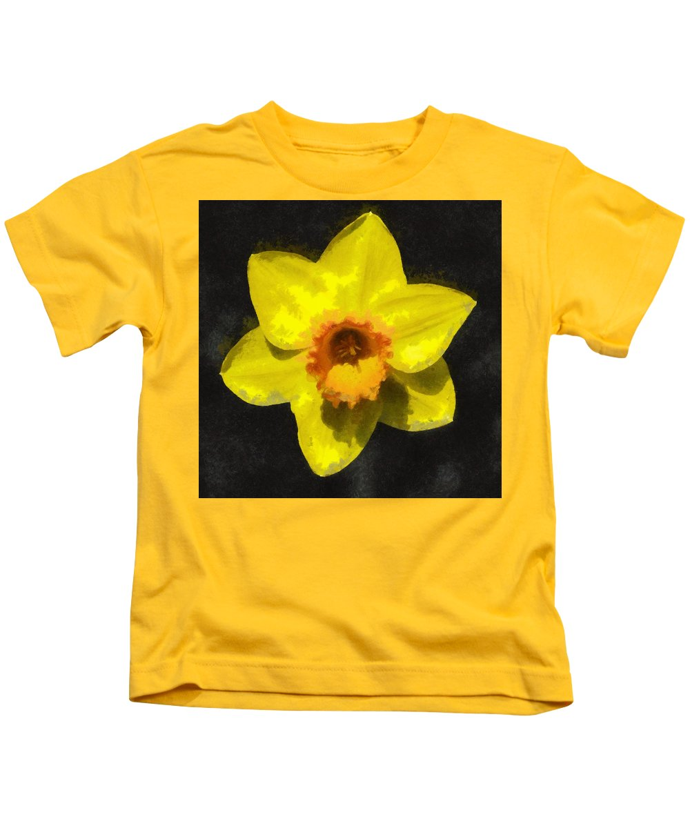 Bloom Kids T-Shirt featuring the painting Flower - Id 16235-220300-0389 by S Lurk