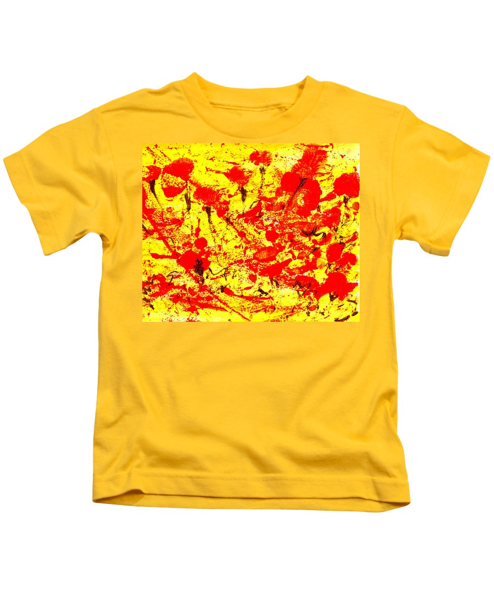 Abstract Kids T-Shirt featuring the painting Flying Poppies by Wayne Potrafka