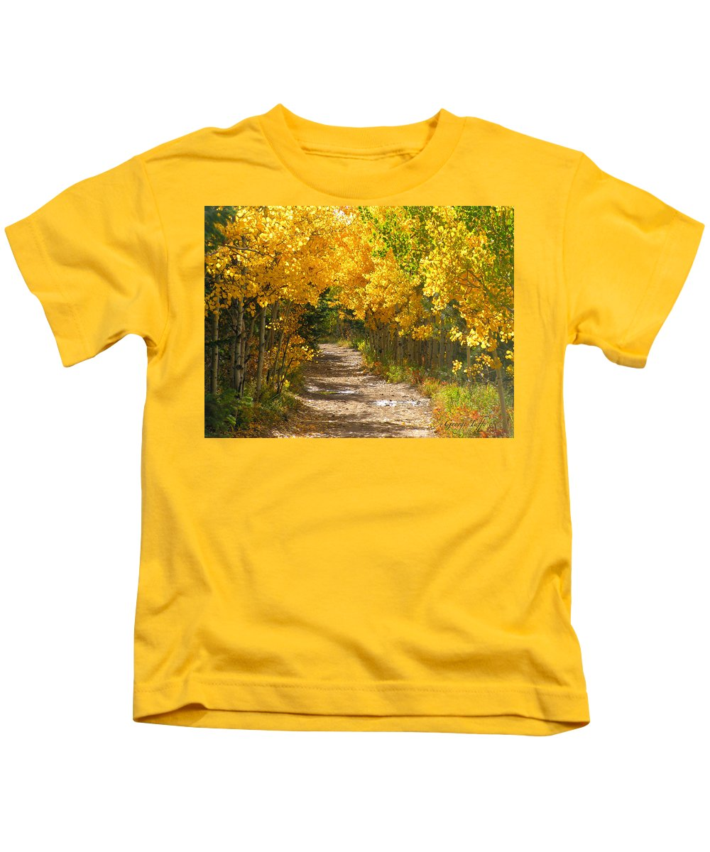 Fall Autumn Walk Path Hike Aspen Rocky Mountains Goldhill Sunny Kids T-Shirt featuring the photograph Golden Tunnel by George Tuffy