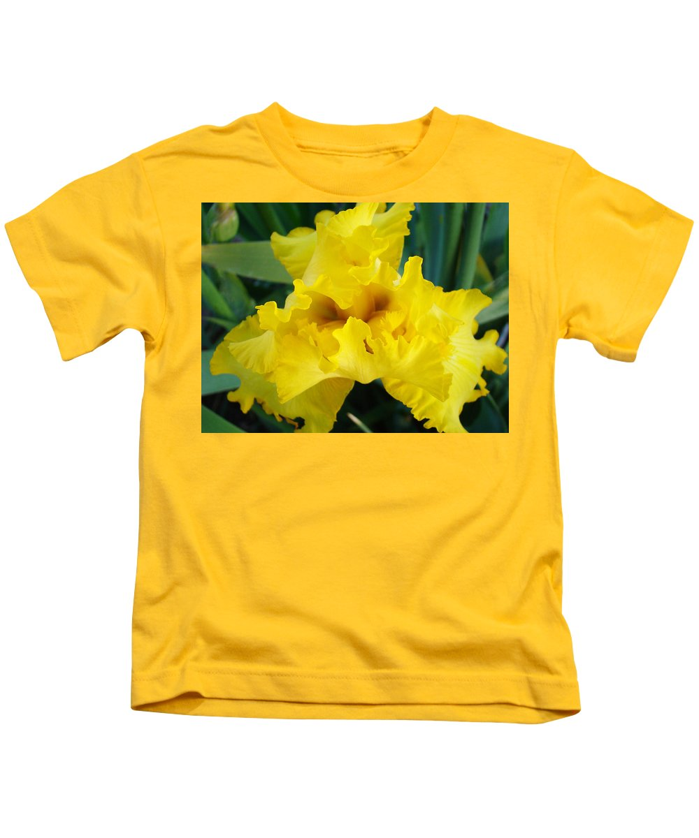 �irises Artwork� Kids T-Shirt featuring the photograph Golden Yellow Iris Flower Garden Irises Flora Art Prints Baslee Troutman by Baslee Troutman