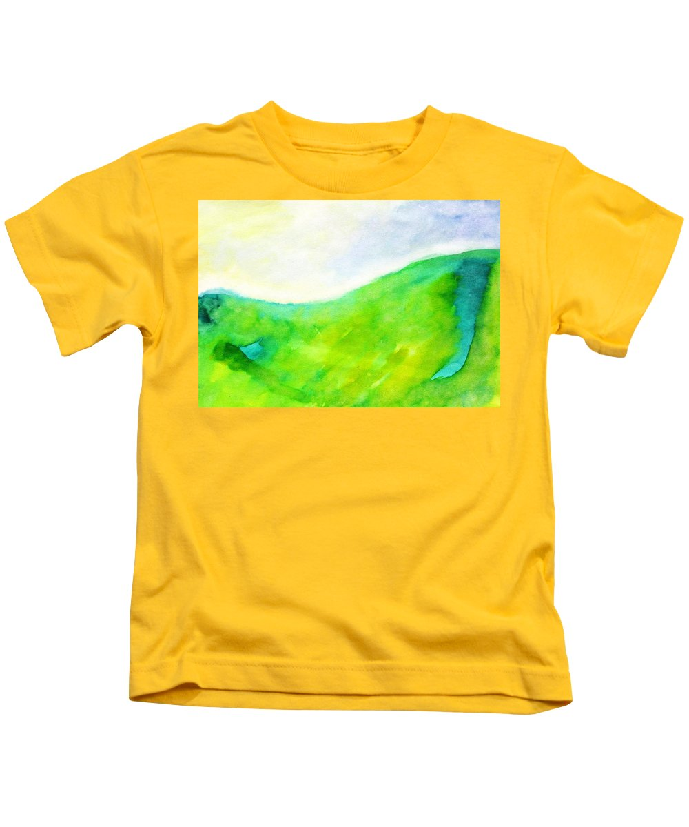 Grass In The Nature Kids T-Shirt featuring the painting Grass In The Nature by Petra Olsakova