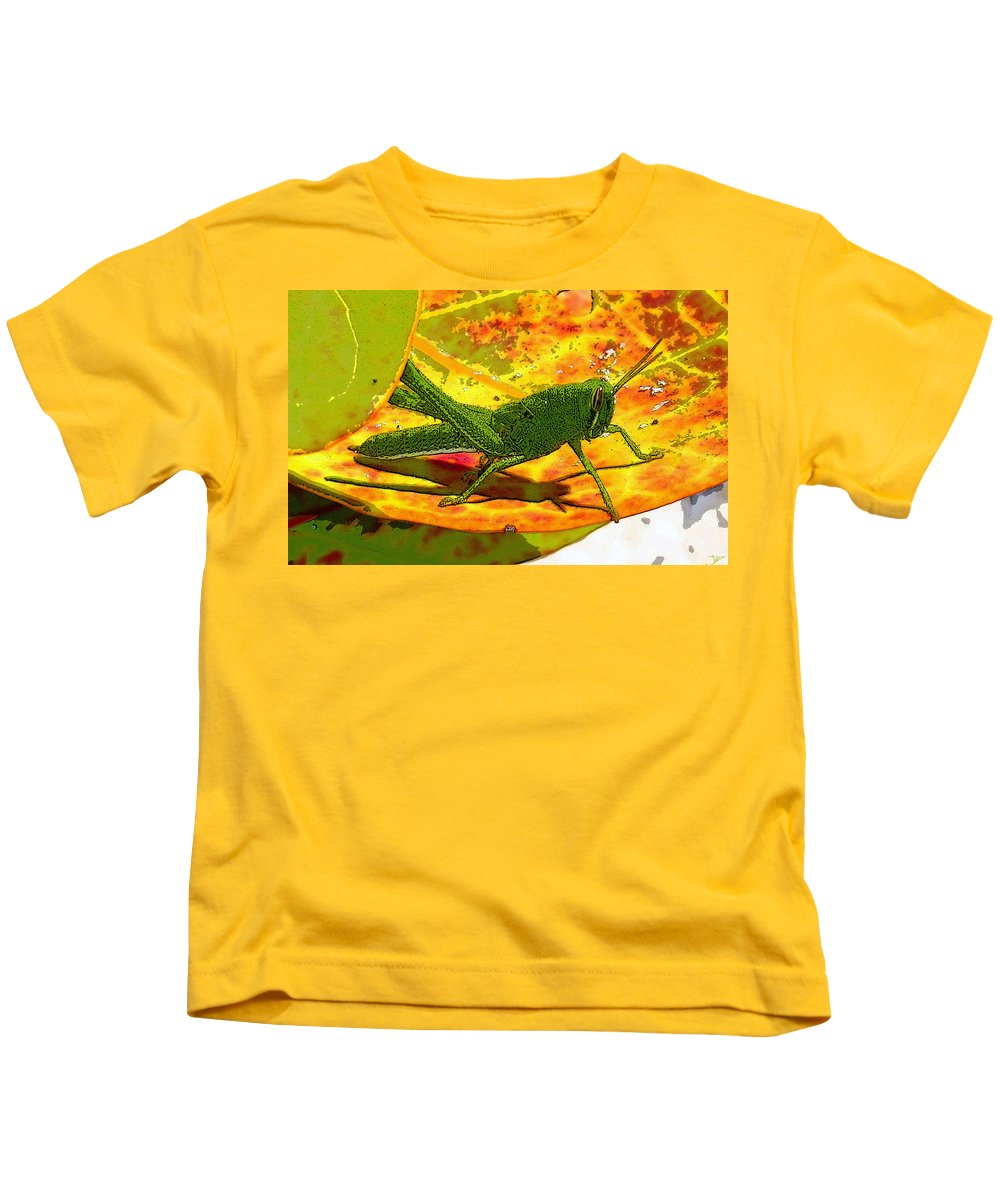 Art Kids T-Shirt featuring the painting Grasshopper by David Lee Thompson