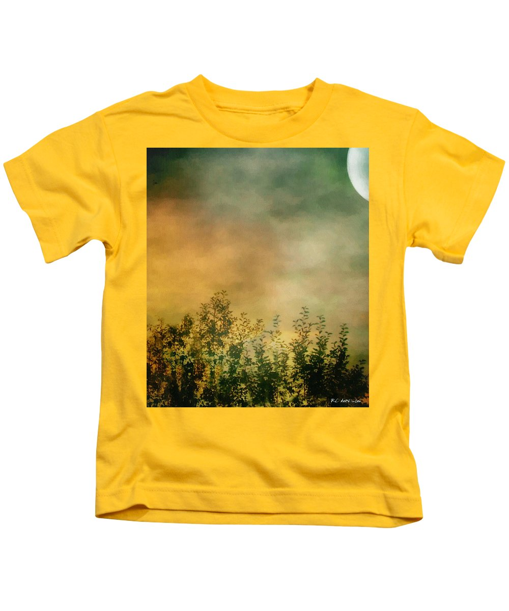 Dusk Kids T-Shirt featuring the painting Haze On Moonlit Meadow by RC deWinter