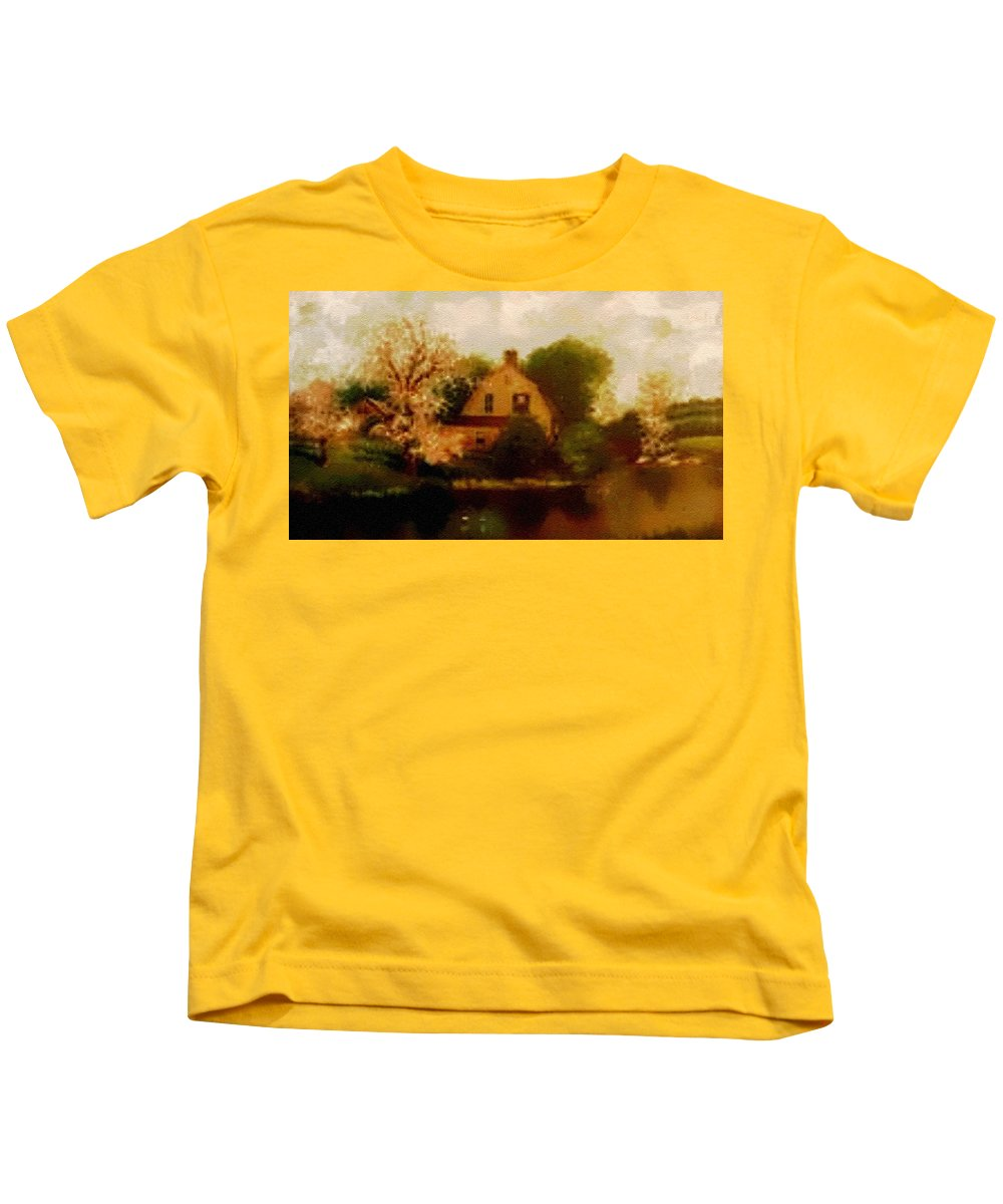 Rural Kids T-Shirt featuring the painting House Near The River. L B by Gert J Rheeders