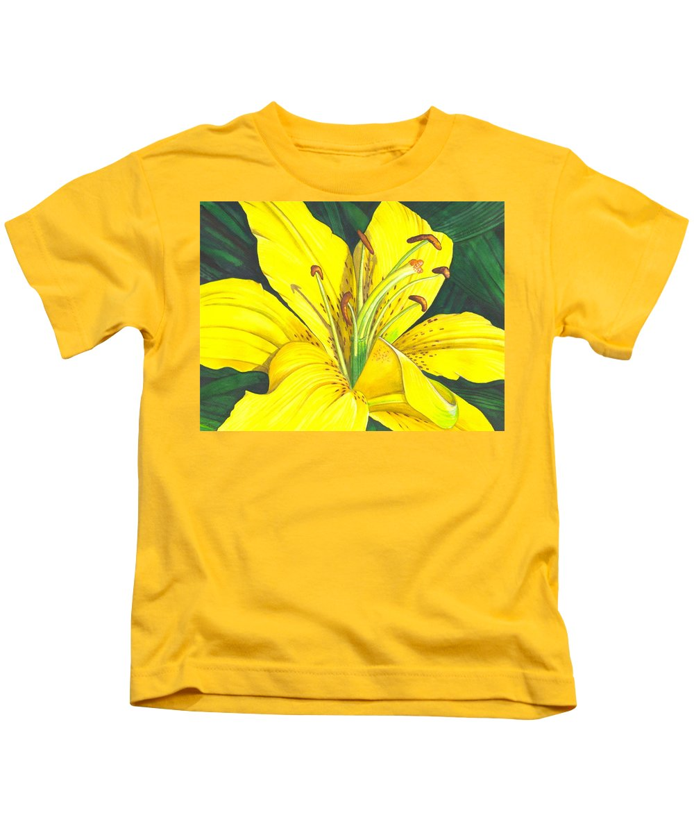 Lily Kids T-Shirt featuring the painting Lemon Lily by Catherine G McElroy