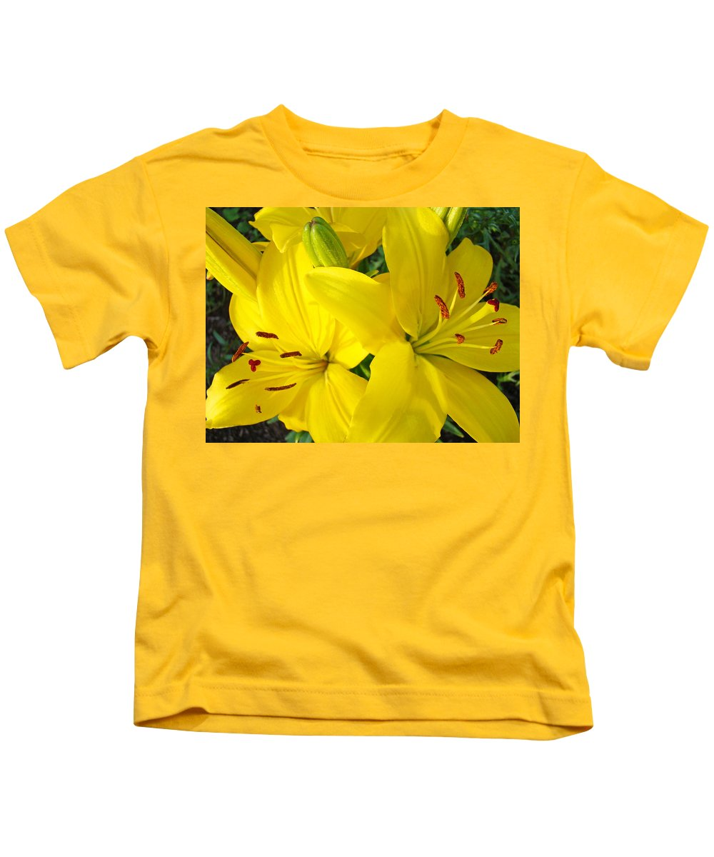 Lilies Kids T-Shirt featuring the photograph Lilly Flowers Art Prints Yellow Lilies Floral Baslee Troutman by Baslee Troutman