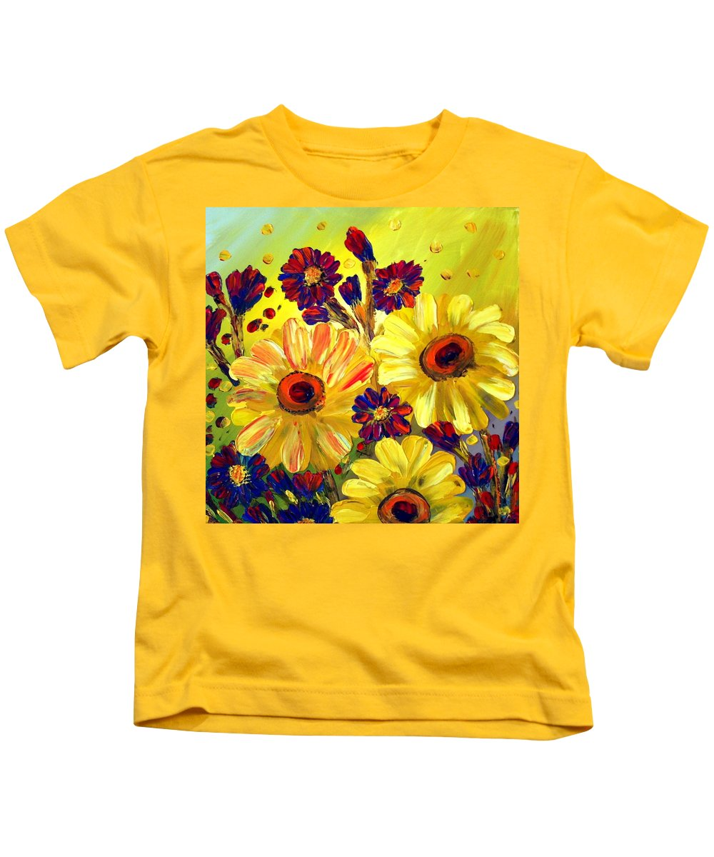 Flowers Kids T-Shirt featuring the painting Looking At Sun by Luiza Vizoli