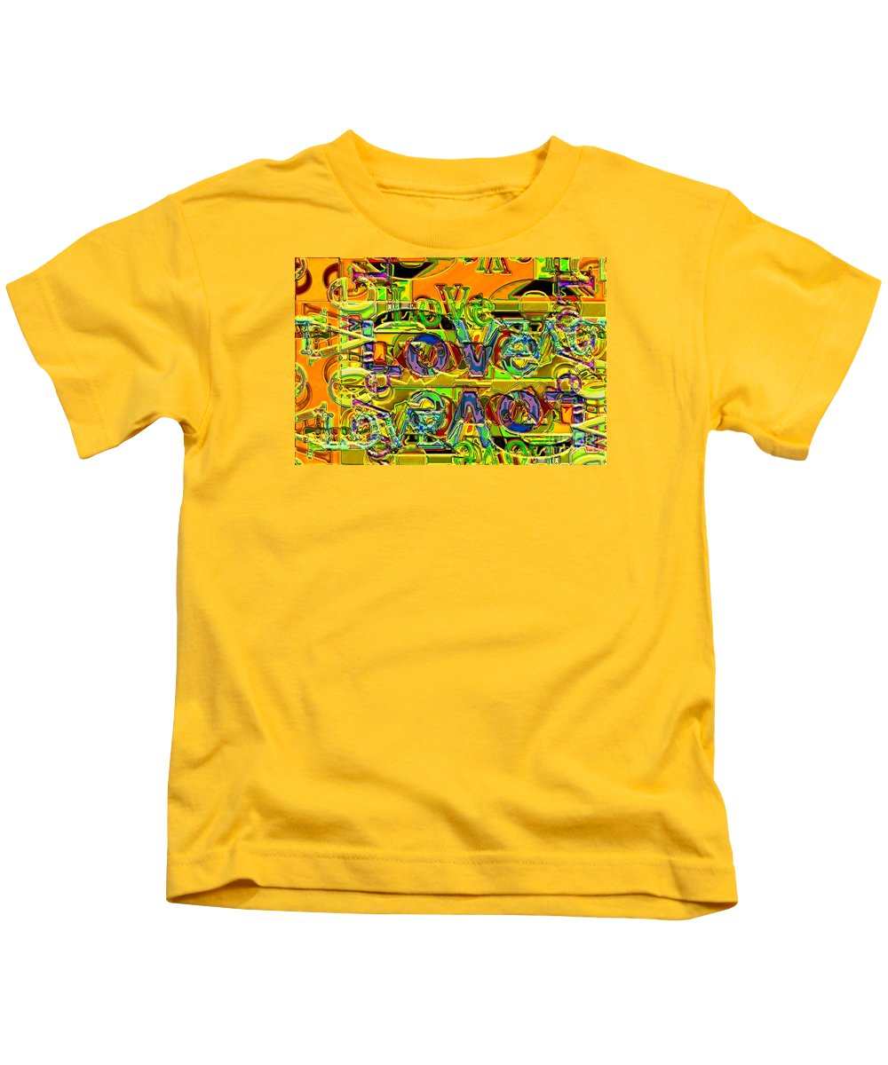Abstract Kids T-Shirt featuring the digital art Love Contest by Ron Bissett