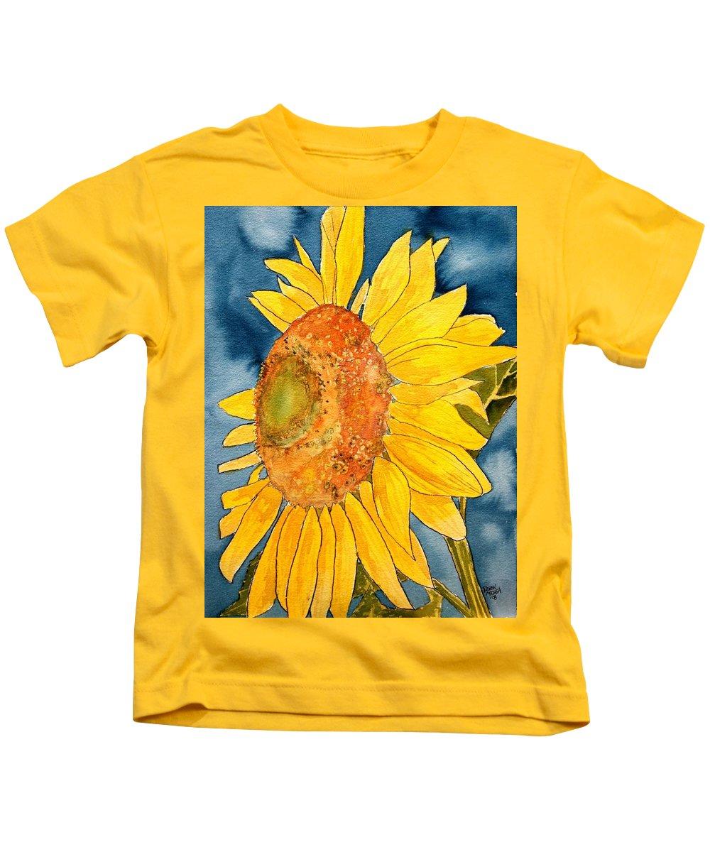 Sunflower Kids T-Shirt featuring the painting Macro Sunflower Art by Derek Mccrea