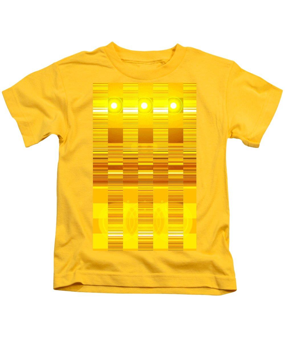 Moveonart! Digital Gallery Kids T-Shirt featuring the digital art Moveonart Yellow Program Six by Jacob Kanduch