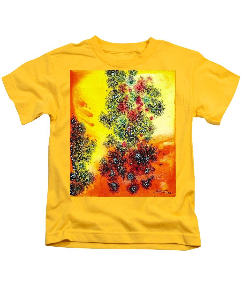 Dendritic Art Kids T-Shirt featuring the painting Navidades Galacticas by Sebastian Calvo Seijas