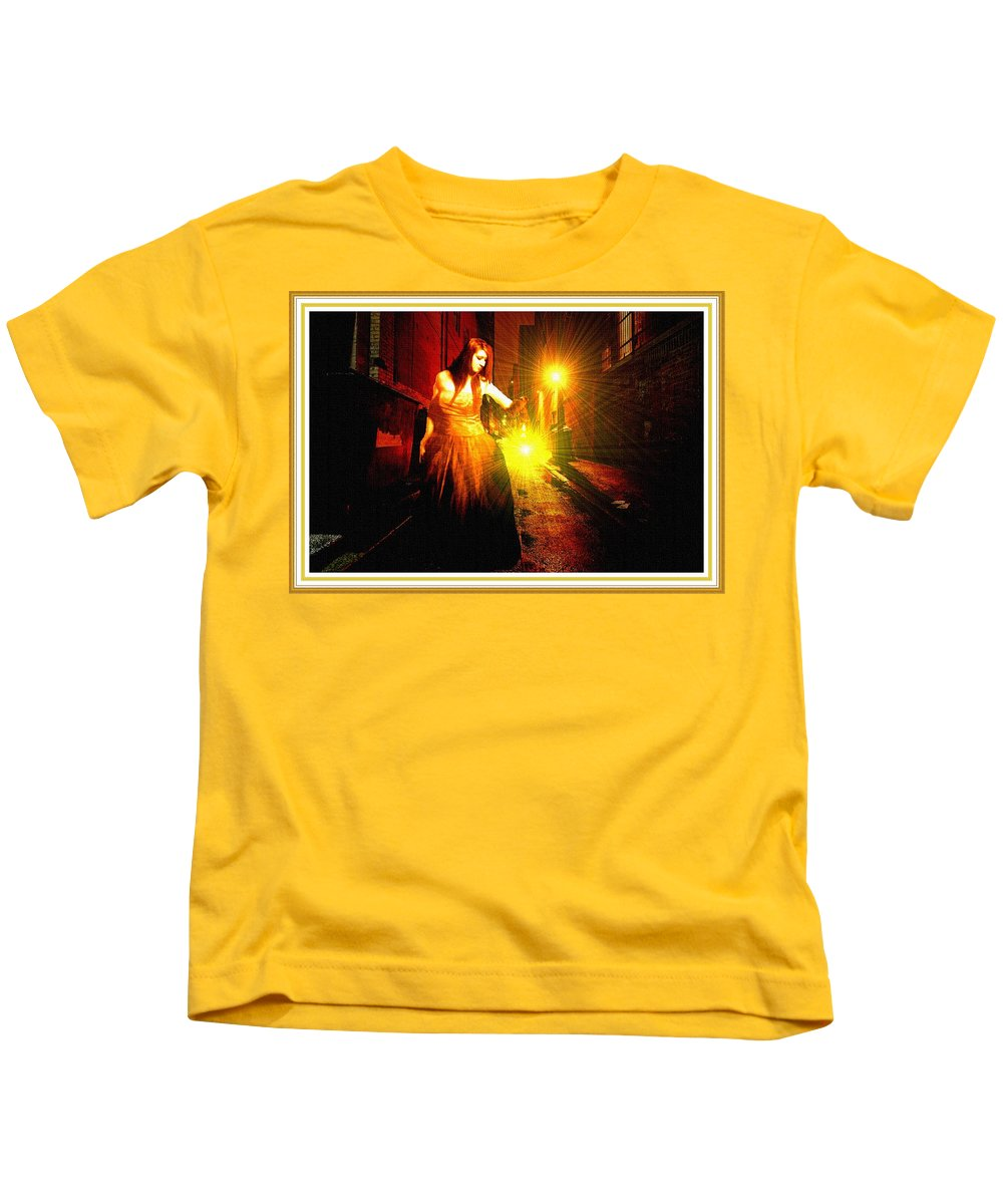 Night Kids T-Shirt featuring the painting Night Search No. 20 L B With Decorative Ornate Printed Frame. by Gert J Rheeders