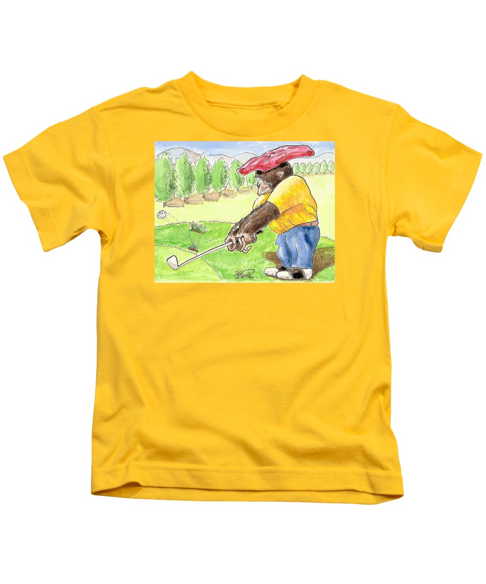 Golf Kids T-Shirt featuring the painting Oops by George I Perez