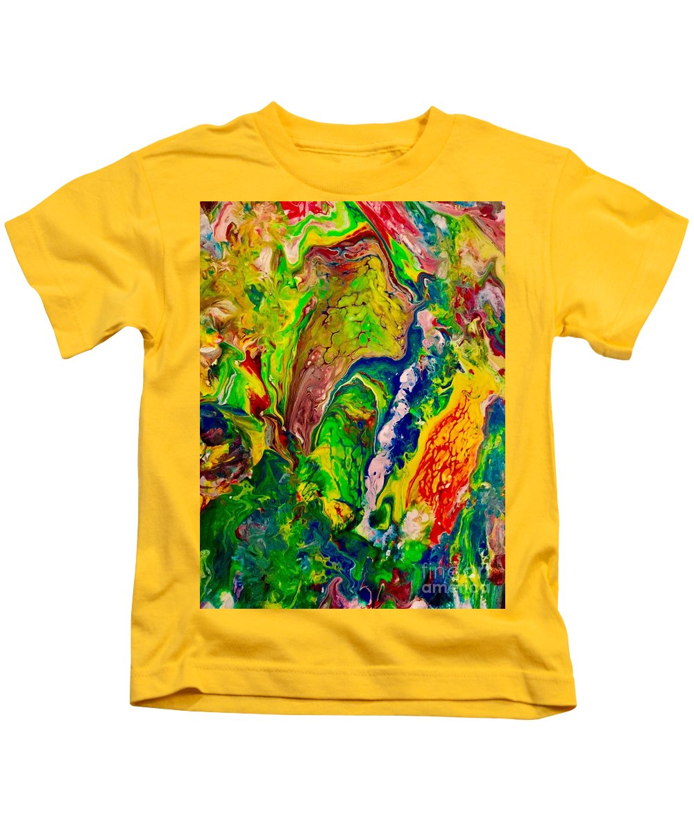 Bird Kids T-Shirt featuring the painting Parrot by Elle Justine