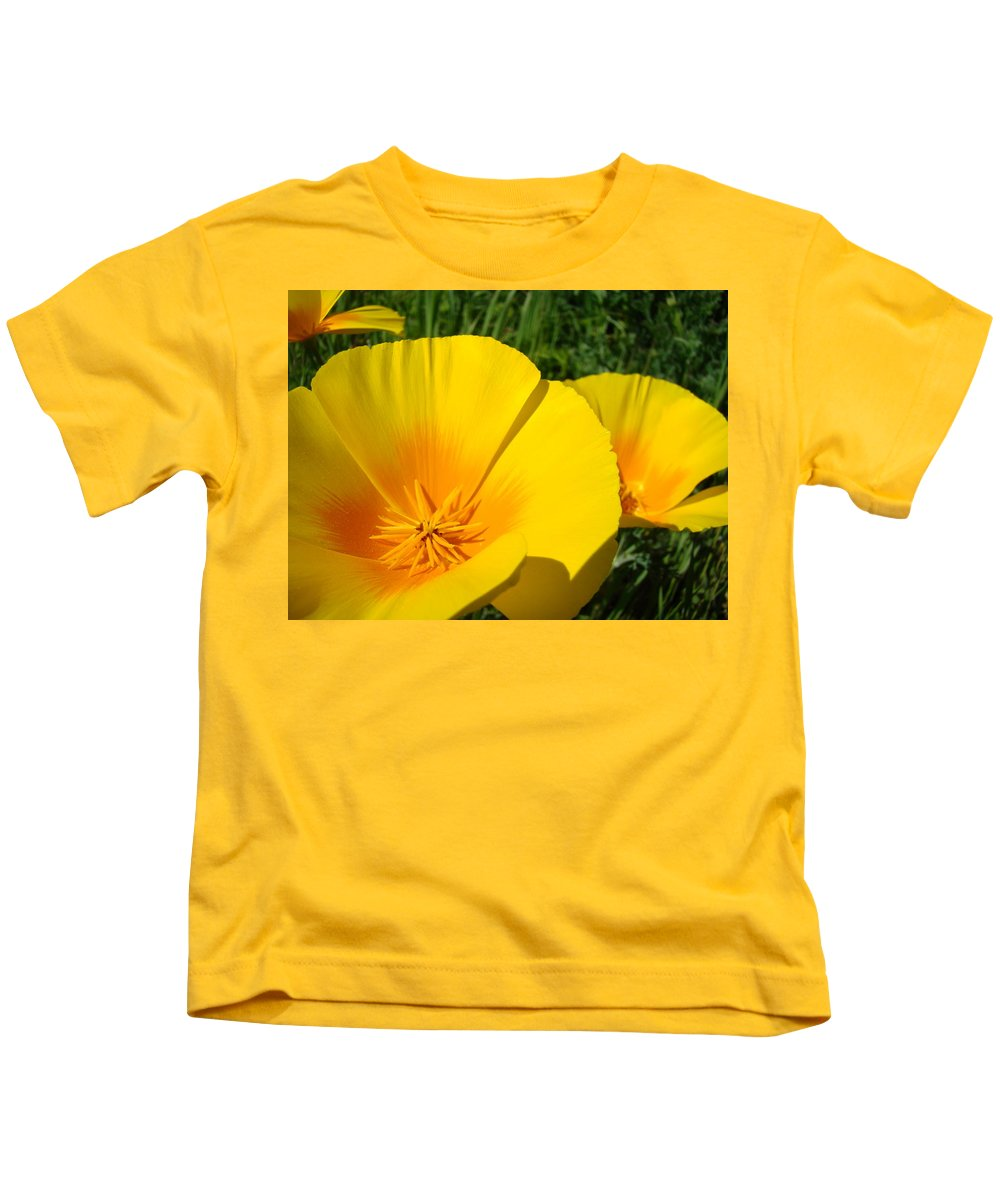 �poppies Artwork� Kids T-Shirt featuring the photograph Poppies Art Poppy Flowers 4 Golden Orange California Poppies by Baslee Troutman
