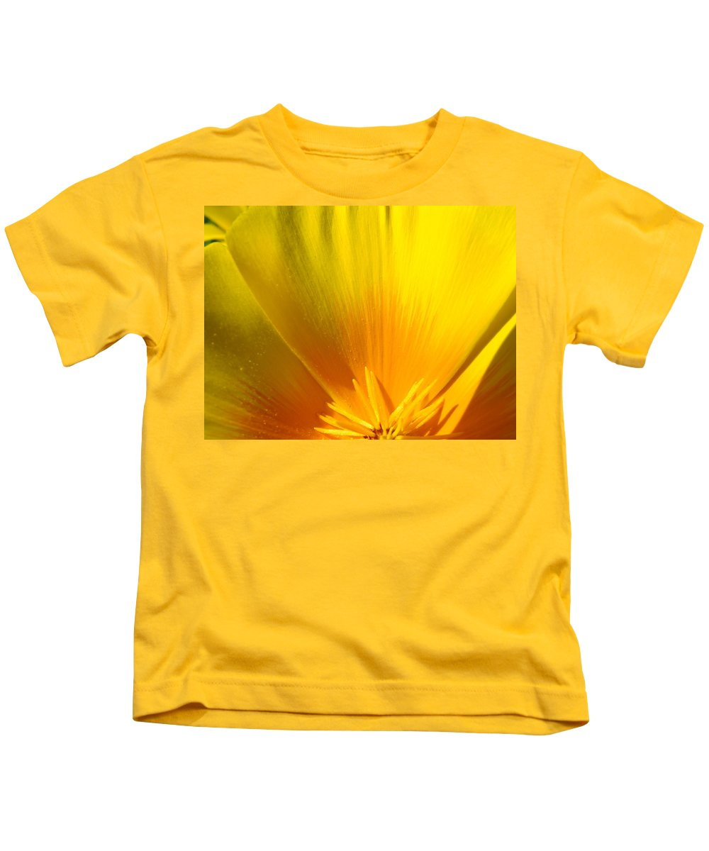 �poppies Artwork� Kids T-Shirt featuring the photograph Poppies Orange Poppy Flower Close Up 2 Sunlit Poppy Baslee Troutman by Baslee Troutman