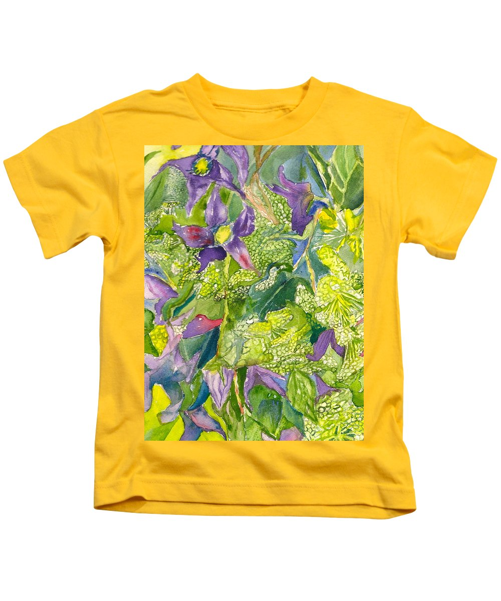 Watercolor Floral Kids T-Shirt featuring the painting Purple Lillies And Baby's Breath by Judith Maculan