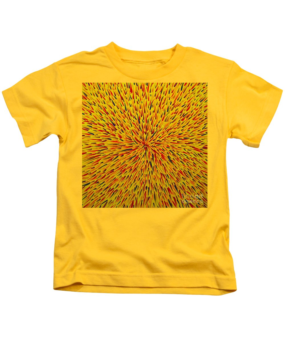 Abstract Kids T-Shirt featuring the painting Radiation Yellow by Dean Triolo