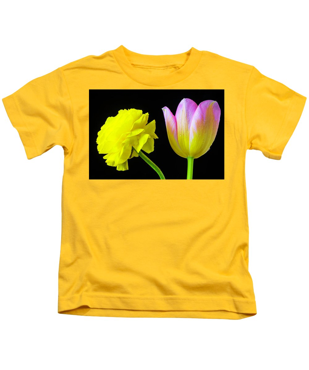 Green Kids T-Shirt featuring the photograph Ranunculus And Tulip by Garry Gay