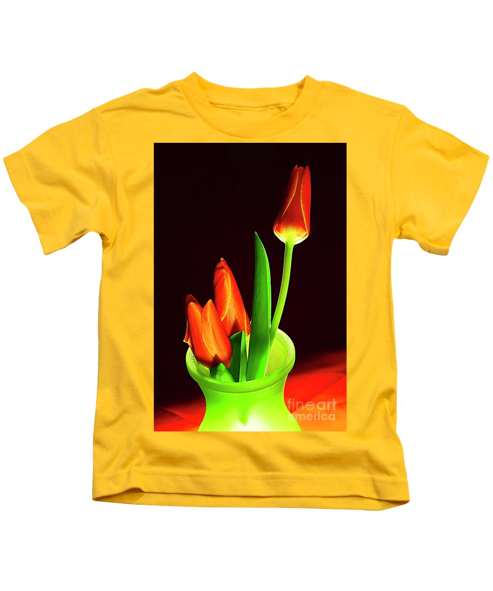 Red Kids T-Shirt featuring the photograph Red Tulips In Vase # 4. by Alexander Vinogradov