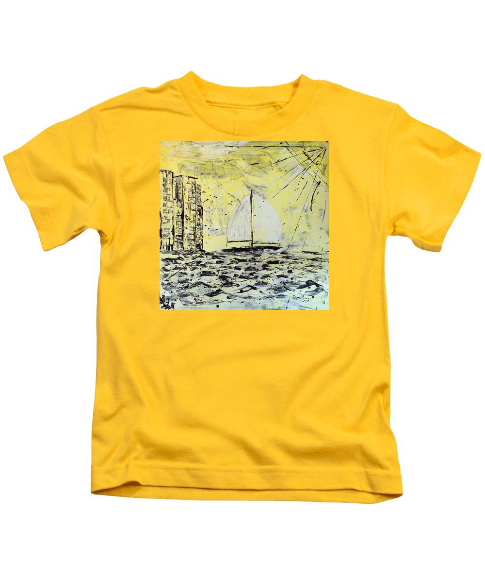 Sailboat With Sunray Kids T-Shirt featuring the painting Sail And Sunrays by J R Seymour