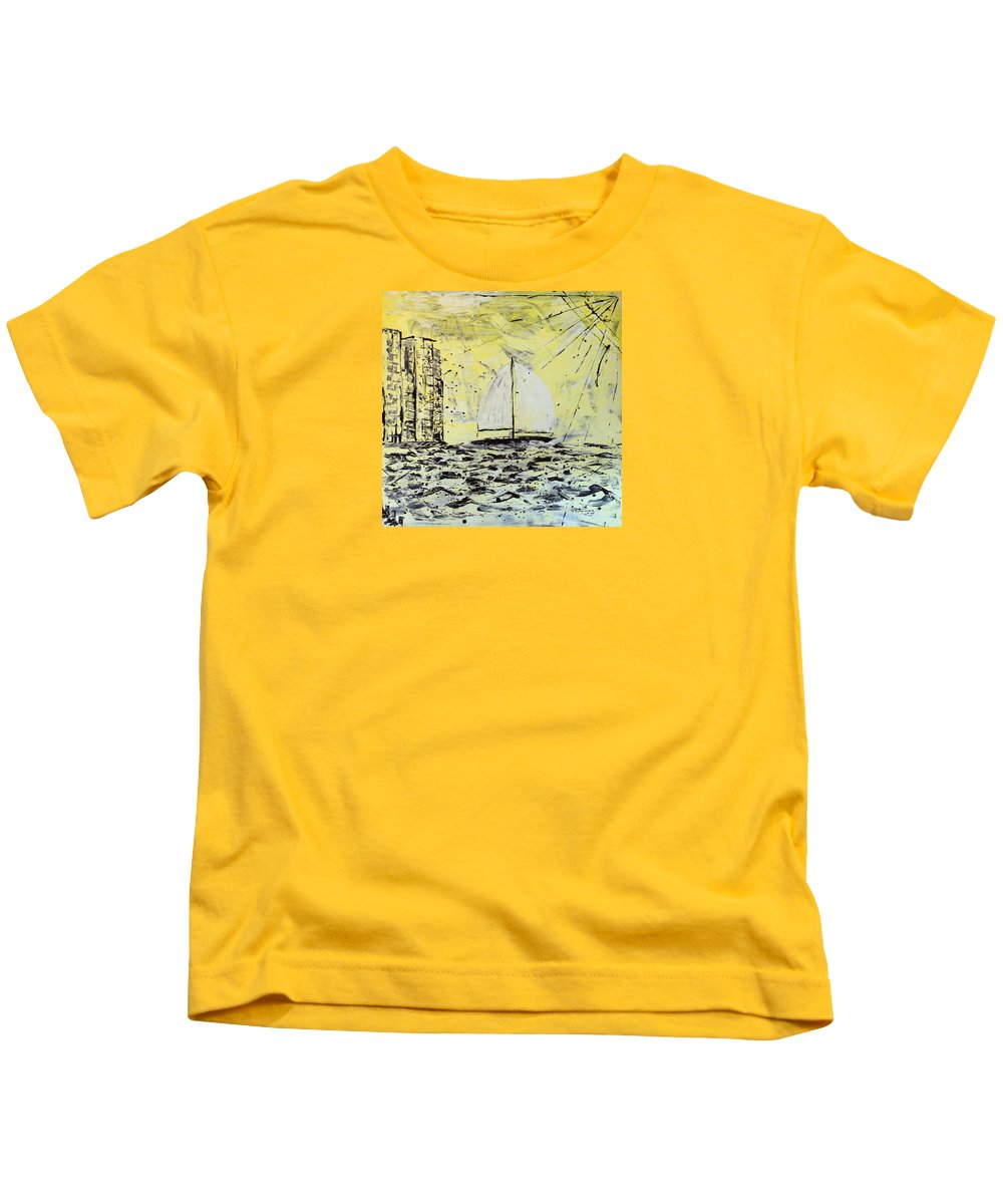 Abstract Kids T-Shirt featuring the painting Sail And Sunrays by J R Seymour