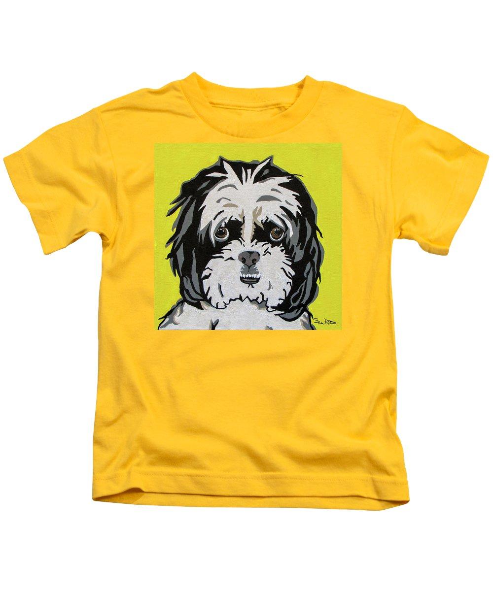 Shih Tzu Kids T-Shirt featuring the painting Shih Tzu by Slade Roberts