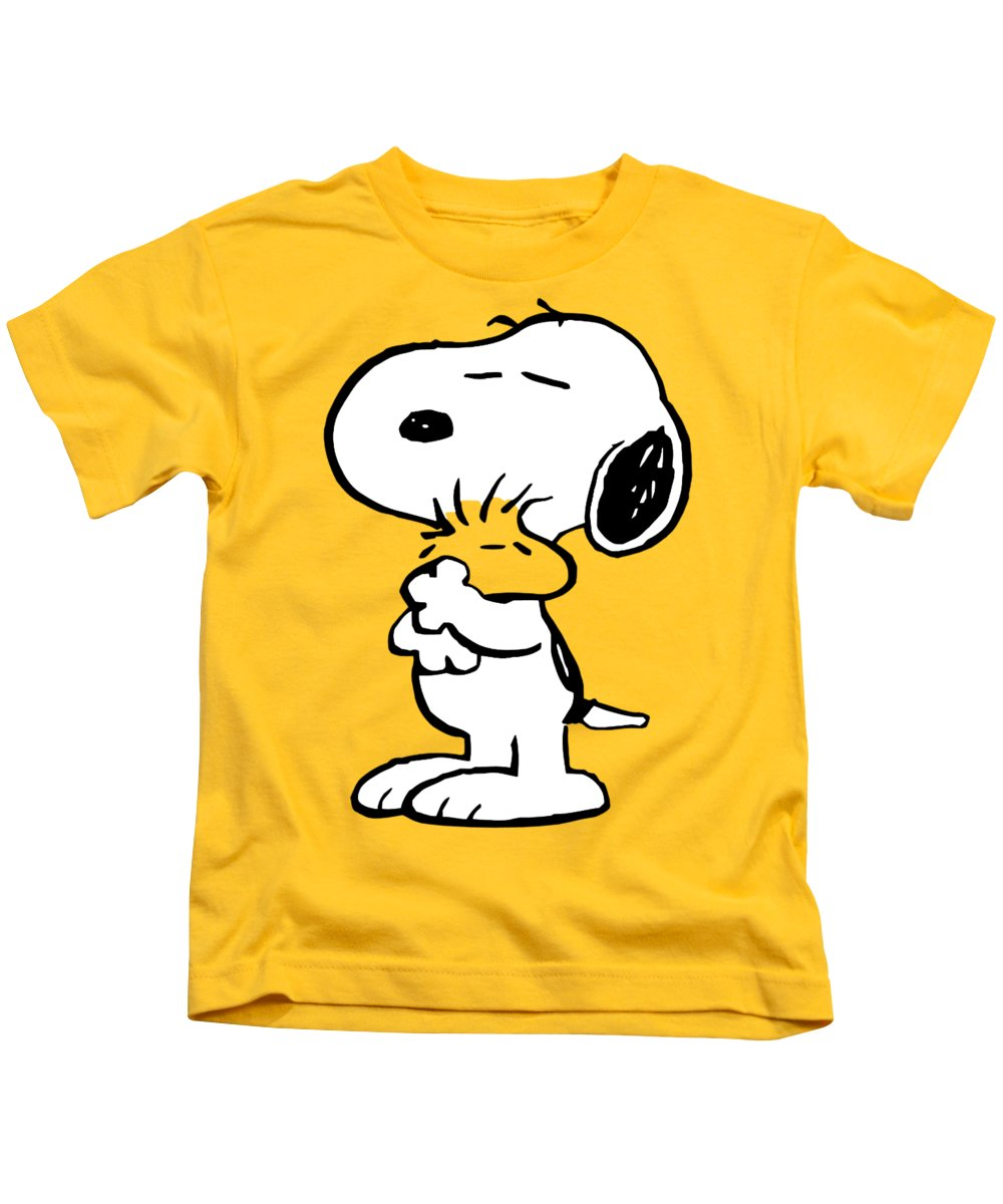 Snoopy Kids T-Shirt featuring the painting Snoopy And Woodstock by Ian King