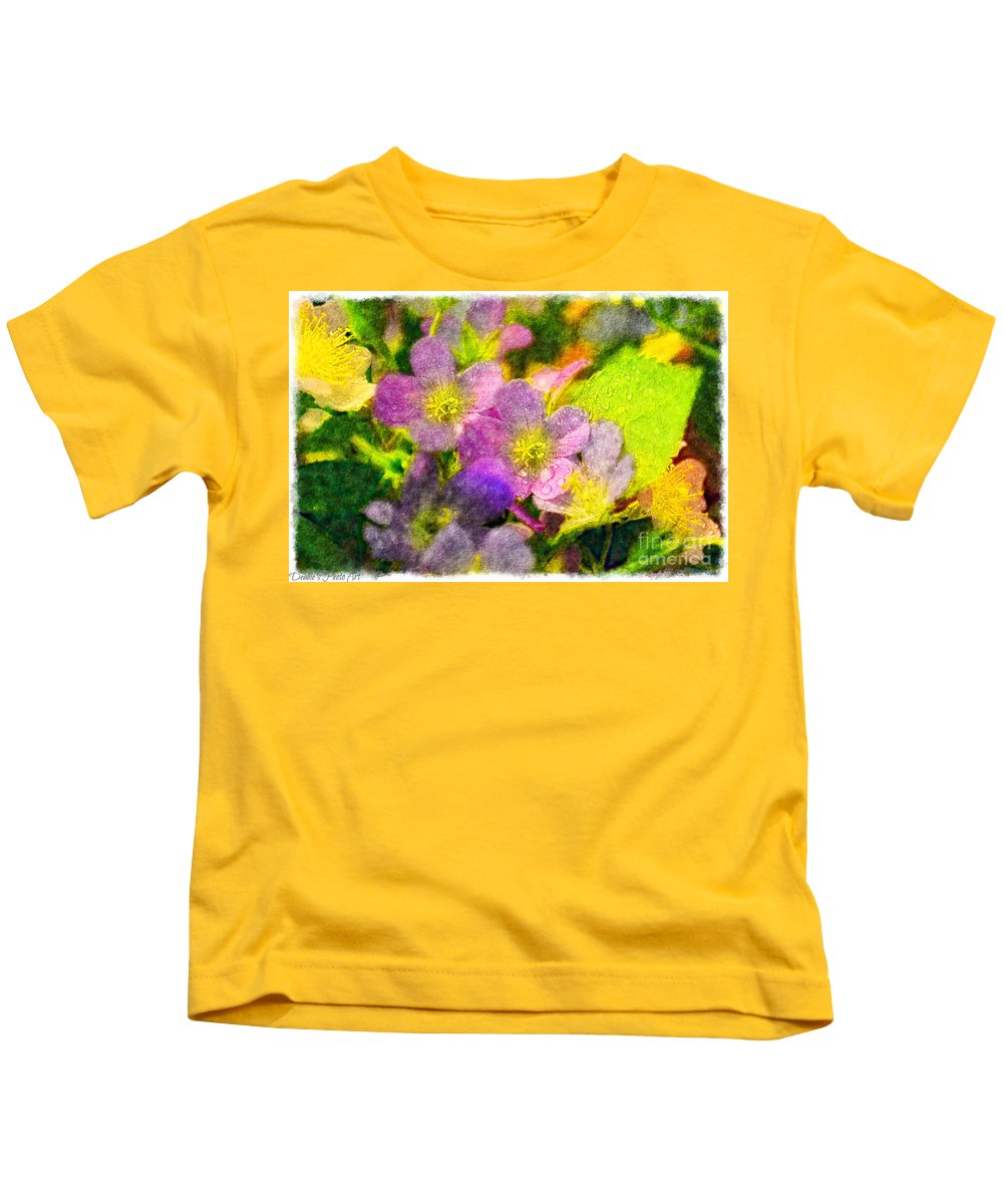 Tiny Kids T-Shirt featuring the photograph Southern Missouri Wildflowers 1 - Digital Paint 2 by Debbie Portwood